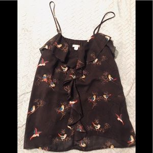 Thin strapped blouse - bird and floral print
